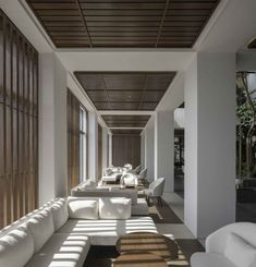 neri & hu inserts a lush internal courtyard into the alila bangsar hotel in kuala lumpur designboom Indoor Courtyard, Internal Courtyard, Corfu, Patio Interior, Interior Design, Small Sitting Rooms, Sitting Area, Hotel Lobby Design, Modern Hotel Lobby