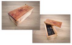 Boîte à télécommandes en palette. Teintée avec du café puis huile de lin