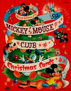 Box of Mickey Mouse Club Christmas Cards, 1957.