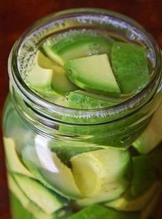 Pickled Avocados (1 qt)   3 med avocados 1 c white vinegar 1 c water 1 Tsp non-iodized sea or kosher salt  1. Cut avocados in half & remove pits, then carefully peel away skin from fruit. Cut avocados into lg chunks & gently pack into clean glass qt jar.  2. Combine vinegar, water, & salt in med saucepan & bring to boil.  3. Pour brine over avocados in jar. Wipe vinegar spills from jar rim with clean towel /paper towel & gently screw lid onto jar.