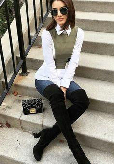 E as botas já saíram do closet - o clima delicia de Outono chegou! Winter Fashion Outfits, Fall Winter Outfits, Look Fashion, Autumn Fashion, Womens Fashion, Mode Outfits, Chic Outfits, Look Chic, Preppy Style