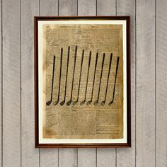 Vintage Decor Golf Poster Dictionary Page Rustic Print