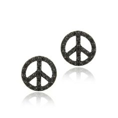 Sterling Silver Black Diamond Accent Circle Peace Sign Earrings SilverSpeck.com. Save 54 Off!. $22.99