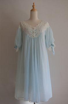 Gorgeous pale blue peignoir set ~ So Me 1950s Fashion, Lolita Fashion, Vintage Fashion, Abaya Fashion, Fashion Outfits, Satin Nightie, Vintage Nightgown, Nightgowns For Women, Vintage Lingerie