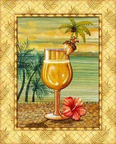 Island Nectar IV Canvas Art - Charlene Audrey x Cocktails Clipart, Cupcake Pictures, Gif Animé, Kitchen Art, Beach Art, Pencil Art, Signs, Decoration, Canvas Art