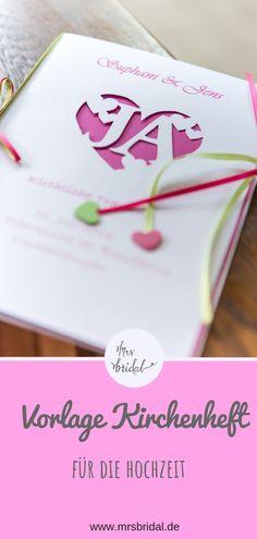Mrs Bridal – design and print DIY church booklet yourself – Best Wedding 2020 Wedding Cards, Wedding Events, Wedding Ceremony, Wedding Booklet, Birthday Invitations, Wedding Invitations, Diy Pinterest, Special Day, Wedding Planning
