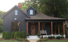 Building A House Ideas Kitchen Breakfast Nooks Black House Exterior, House Paint Exterior, Exterior House Colors, Exterior Design, Nashville, Dark House, Dark Gray Houses, Modern Farmhouse Exterior, Farmhouse Plans