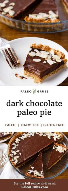 Would you believe that you can enjoy a delicious slice of chocolate pie completely guilt-free? It's completely true thanks to this all natural chocolate pie recipe. It's dairy-free, gluten-free, and completely paleo-friendly. Reintroduce almond and cocoa. Paleo Dessert, Healthy Desserts, Healthy Cake, Chocolate Pie Recipes, Chocolate Pies, Decadent Chocolate, Chocolate Lovers, Gluten Free Chocolate Pie Recipe, Paleo Chocolate Cake