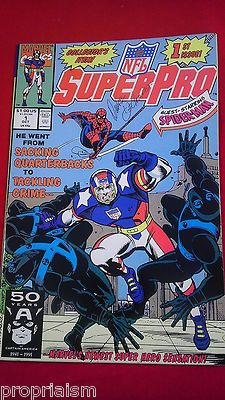 Marvel Comics NFL Superpro #1 October 1991 Spiderman 1st Issue Signed by Artist Cystic Fibrosis Foundation