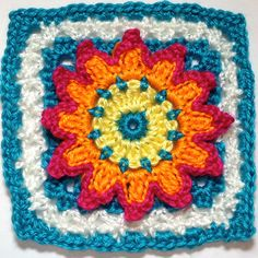 """I AM...CRAFTY!: Hooked on Granny Squares - Free ( 365 ) """"CLICK"""" designer's name for the pattern."""