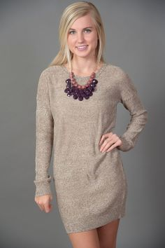 Sweater Dress with brown or black or navy tight.