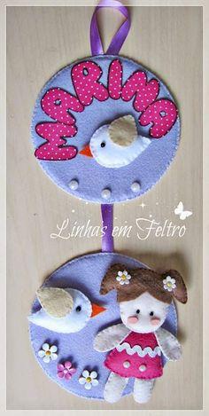 Porta maternidade com tema de menina feita em feltro, artesanato