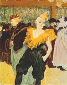 """Henri de Toulouse-Lautrec - French Post-Impressionist Painter and Printmaker, (1864-1901)  A dancer and clown at the Nouveau Cirque and the Moulin Rouge, Cha-U-Kao owes her Japanese sounding name to the phonetic transcription of the French words """"chahut"""" (an acrobatic dance derived from the cancan) and """"chaos"""" referring to the uproar that occurred when she came on stage. Like La Goulue, Cha-U-Kao is a recurring figure in the painter's work and belongs to the world of Parisian showbiz in the…"""