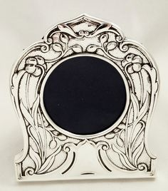 Sale Antique ornate pewter filigree frame oval picture or mirror Home decor.French scrolling frame.Art Nouveau style.Silver tone wall Gift