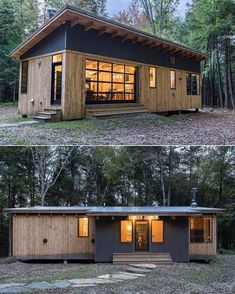 Cahill cabin in vermont by photography by derrick barrett bookofcabins prefabnsmallhomes compactliving fabprefab… Cahill Cabin love the windowed garage door ahill Cabin in by Book of Cabins ( Image may contain: house, tree, sky and outdoor Could be a la Small Cottage House Plans, Small Cottage Homes, Tiny House Living, Small House Plans, Tiny Homes, Living Room, Off Grid Tiny House, Micro Homes, Container Home Designs