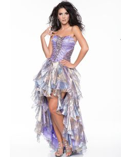 Lavender Beaded Shimmer Organza Strapless High-Low Prom Dress - Unique Vintage - Prom dresses, retro dresses, retro swimsuits.