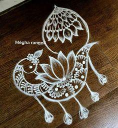 Rangoli Designs Peacock, Rangoli Designs Images, Rangoli Ideas, Rangoli Designs Diwali, Beautiful Rangoli Designs, Simple Rangoli, Mehandi Designs, Free Hand Rangoli Design, Small Rangoli Design