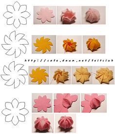 Felt flower.  I haven't seen this design before. Use alone or as a center for a larger flower.
