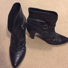 Ankle boots/booties - Western style leather Leather ankle boots/booties with sliver buckle. Worn a few times! Super cute with skinny jeans! Carlos Santana Shoes Ankle Boots & Booties