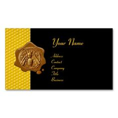 HONEY BEE BROWN WAX SEAL / Cupid the Honey Thief Business Card Template