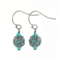 Swiss Blue Topaz Pave crystal dangle earrings