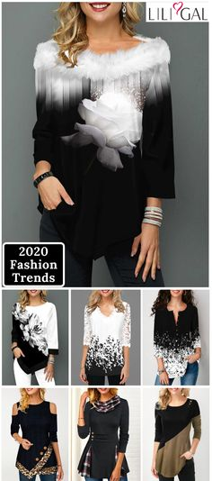 Shop Womens Fashion Tops, Blouses, T Shirts, Knitwear Online Winter Outfits Women, Fall Outfits, Outfit Winter, Tops Bonitos, Silvester Outfit, Womens Trendy Tops, New Years Outfit, Mode Chic, Look Fashion