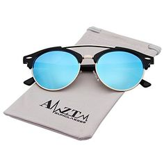 1460791e74c us  AMZTM Double Bridge Semi-Rimless Retro Polarized Reflective Round Wayfarer  Sunglasses (Black Frame Ice Blue