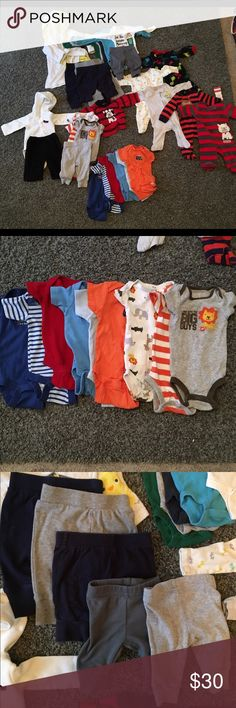 Updated**Newborn lot EUC NO STAINS. Over  40 pieces.  18 onesies. 8 pants. 7sleepers.  1 bathrobe. 2 receiving blankets.  2 pairs of socks. 4 pair of mittens. 4 hats Other