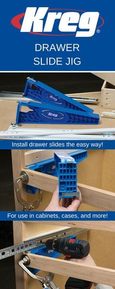 The Drawer Slide Jig takes the guesswork out of installing drawer slides. This easy-to use jig holds slides in position as you drill mounting holes in the cabinet, and it supports drawer boxes while mounting slides to the drawer. Plus, the Jig works with ball-bearing, epoxy-coated, and undermount slides for perfect positioning every time.
