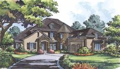 Eplans French Country House Plan - Great Sitting Rooms - 4669 Square Feet and 4 Bedrooms from Eplans - House Plan Code French Country House Plans, European House Plans, Luxury House Plans, Dream House Plans, Small House Plans, House Floor Plans, Contemporary House Plans, Castle House, Cottage House Plans