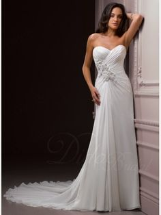 Sweetheart Court Train Column Chiffon Wedding Dress