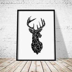 Tête danimaux de la forêt imprimé scandinave cerf cerf