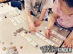 Today I'm popping in to talk about all the money fun we have been having in our class lately! The FDK expectation for money is. Kindergarten Centers, Kindergarten Activities, Math Centers, Learning Activities, Preschool, Teaching Money, Teaching Kids, Money Activities, Primary Maths