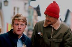 Redford and director Michael Ritchie behind the scenes on DOWNHILL RACER (1969)