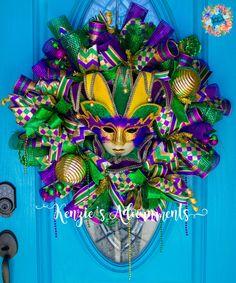 Mardi Gras Wreath, Deco Mesh Mardi Gras Wreath, Fat Tuesday Wreath, Mardi Gras Decor, Jester Wreath, Jester Decor, Carnival Wreath by KenziesAdoornments on Etsy