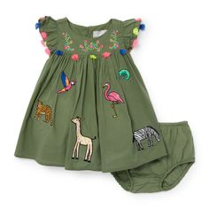 How Cute! Baby Girls Short Sleeve Animal Patch Dress And Bloomers Set. #babygirl Afflink Sponsored