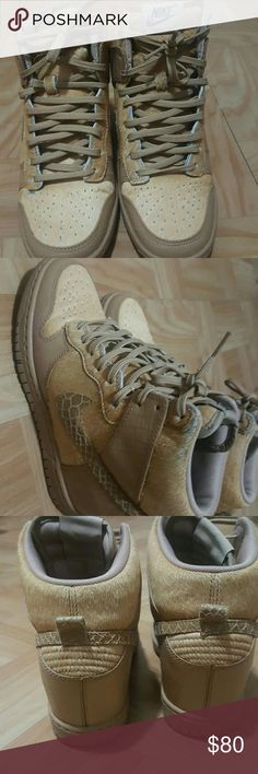 Nike Sky Hi Dunk Wedged dunks in brown wheat faux pony hair Nike Shoes Sneakers