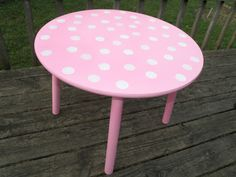 "Re-painted ""tea party"" table! Pink polka-dots for a little girls room."