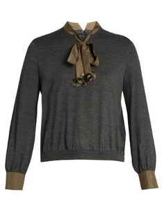 Tie-neck wool top  | KOLOR | MATCHESFASHION.COM