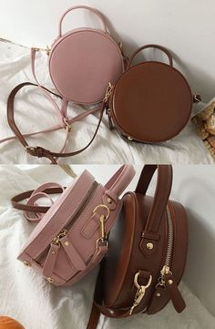 Ikebag - Faux Leather Circle Crossbody Bag Choosing bags in line with physique Fashion Handbags, Purses And Handbags, Fashion Bags, Cheap Handbags, Cheap Purses, Prada Purses, Wholesale Handbags, Cute Mini Backpacks, Stylish Backpacks