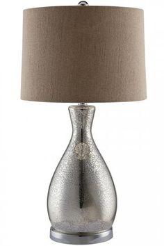 Sparkle Table Lamp.  26h.  108 sale.  burlap beige shade.