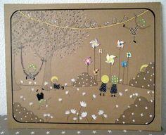 Les Moulins - Illustration sur carton - 40x50cm Tous droits réservés - Miod illustration