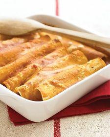 Vegetable Enchiladas - Martha Stewart Recipes.  Vegetarian freezer meal. Black beans, spinach, corn, scallions