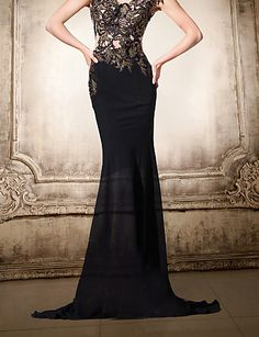 Formal Evening Dress Trumpet/Mermaid V-neck Floor-length Chiffon/Lace Women Prom Dress – USD $ 179.99