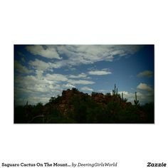 Saguaro Cactus On The Mountains Poster