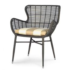 """PALERMO OUTDOOR CHAIR, ESPRESSO 26.75""""w x 26.75""""dp x 33.5""""hPALERMO OUTDOOR CHAIR, ESPRESSO  Powder coated aluminum frame hand-woven with highest quality all-weather synthetic wicker with maximum UV protection."""