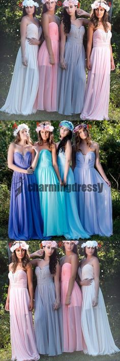 Sweetheart Chiffon Cheap New Unique Design Colorful Bridesmaid Dresses, dresses for wedding