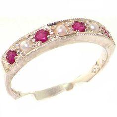 Anello Donna in Oro bianco 9K (375) con Rubino e Perle 0.3 carati - Taglia 24 - Altro Taglie disponibili
