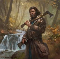 m Ranger Med Armor Dual Axe deciduous forest stream Haldan Illustration for The Lord of the Rings: The Card Game Fantasy Character Design, Character Concept, Character Art, Concept Art, Viking Character, Fantasy Portraits, Character Portraits, Fantasy Artwork, Fantasy Warrior