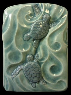 Art tile, Ceramic, tile, animal art, Sea turtles, Twins, sculpted tile, 4x 5 inches  Baby Green sea turtles
